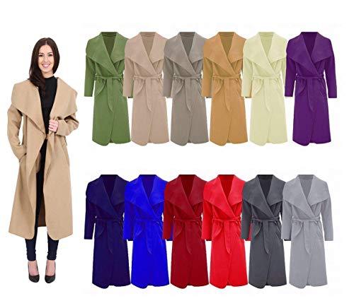 Waterfall Ladies FASHION ZEE Women Italian Long Long Belted Jacket Trench Charcoal Sleeve Coat 8ZX1wxqHX