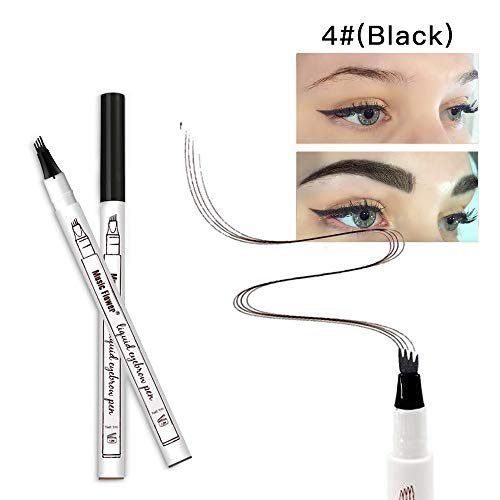 Microblading Eyebrow Pencil Eyebrow Tattoo Pen-Liquid Eyebrow Tint Pen with Micro-Fork Tip Applicator Creates Natural Looking Brows Fine Sketch and Stays on All Day (Black)