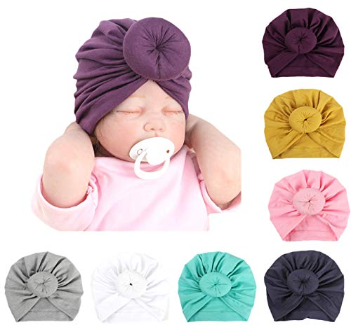 Baby Girl Hat with Rabbit Ears Bow Hat Toddlers Soft Turban Variety Knotted Hats Cap (7pcs (as Shown))