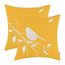 Set of 2 CaliTime Pillow Cover Cotton Canvas Vintage Bird In Tree Embroidered 18 X 18 Inches Gold
