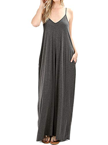 MixMatchy Women's Summer Casual Plain Flowy Pockets Loose Beach Cami Maxi Dress Charcoal 1X