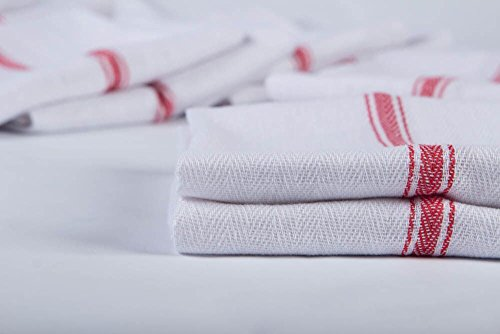 Kitchen Towel Dish Towels (13 Pack) Tea Towels 100 Percent Cotton Dish Cloths Red and White Dish Towels (15 x 25 Inch) Machine Washable By Ama's Kitchen by AMA's Kitchen (Image #1)