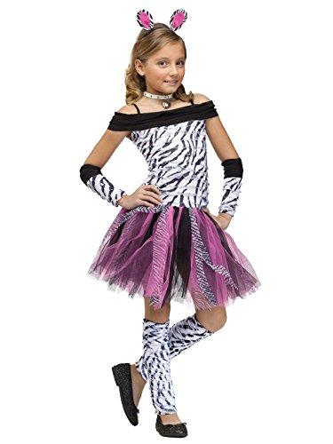 Fun World Big Girl's Zebra Kids Costume Childrens Costume, Multi,