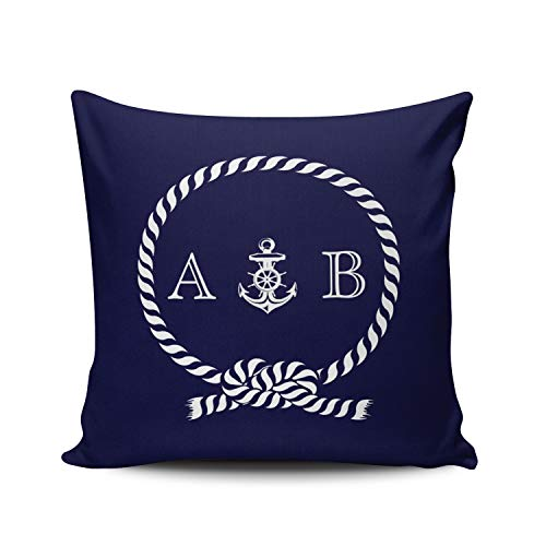 Fanaing White Navy Blue Nautical Rope and Anchor Monogram Pillowcase Home Sofa Decorative 18X18 Inch Square Throw Pillow Case Decor Cushion Covers Double Sided Printed