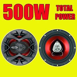 BOSS 500W TOTAL 2WAY 6.5 INCH 16.5cm CAR DOOR/SHELF COAXIAL SPEAKERS RED PAIR