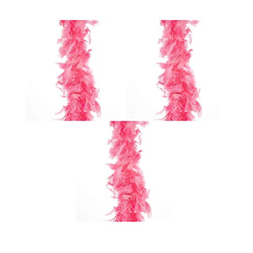 Darice 30061319 Flamingo Pink Chandelle 6 feet Feather Boa, (3 pack)