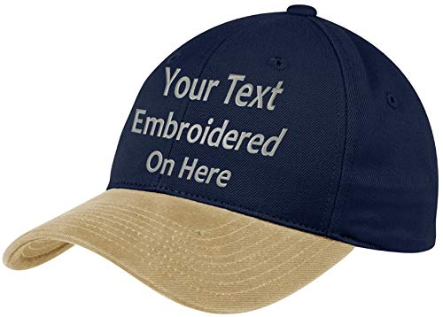 Custom Hat, Embroidered. Your Own Text. Adjustable Back. Curved Bill Many Colors (2 Tone Brushed Twill Navy Hat/Khaki Bill)