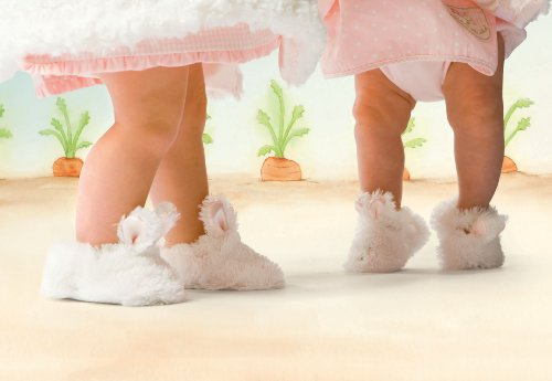Bunnies by the Bay Bunny Cuddle Toe Slippers, White, 6-12 Months - Image 2