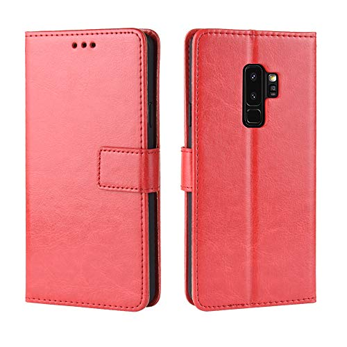 s9 Plus Wallet case Compatible with Samsung Galaxy s9plus Cover PU Leather Protective Cases gaxaly glaxay s9 Plus sam s 9plus 9s gs9 Plus Phone Skin Card Holder Kickstand Bumper 6.2 inch (Red) ()