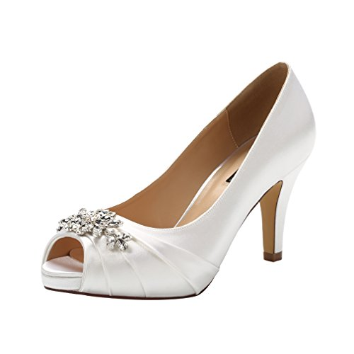 ERIJUNOR E0055 Peep Toe Mid Heels for Woman Rhinestones Satin Evening Prom Wedding Shoes White Size 8