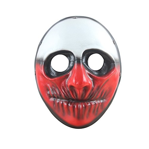 Digo3D Halloween Mask, Payday 2 Theme Game Mask Horror Cosplay Party, Fencing, War-Game, Costume Play More (Payday2 Wolf)]()