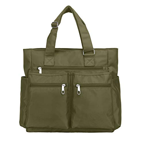 Waterproof Nylon Oxford Multi-pocket Tote Bags Fashion Travel Laptop Briefcase Work Purse for Women & Men (Army Green)