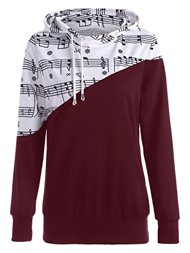 BeautyGal Women Casual Hoodies Sweatshirt Tops Two Tone Music Note Print Drawstring Pullover Wine Red (Red Music Note)