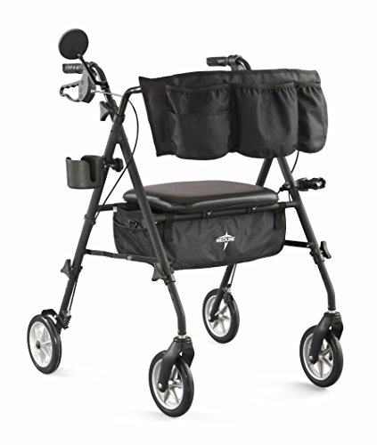 (Medline Stealth Deluxe Mobility Folding Aluminum Rollator Walker with 7 Inch Wheels, Matte Black)