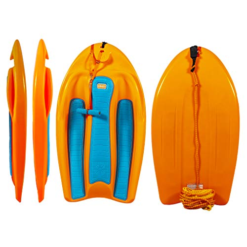 ZUP Coast Board All-in-One Kid's Wakeboard with Rope Handle, Trainer Board, Kneeboard and Water Skis for Water Sports, Boating, Orange