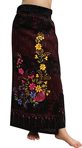 (RaanPahMuang Cotton Wrap Skirt Multi Colored Embroidered Large Flower Pots, Width 54 inch, Black)
