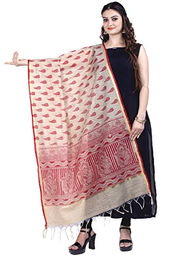 - Chandrakala Women's Handwoven Beige Printed Banarasi Dupatta Stole Scarf,Free Size (D165BEI)