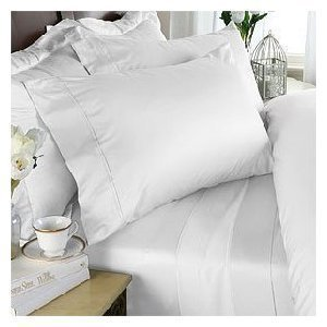 100/% Pure Cotton 4 Pieces Waterbed Sheet Set 1000 Thread Count Ivory Solid