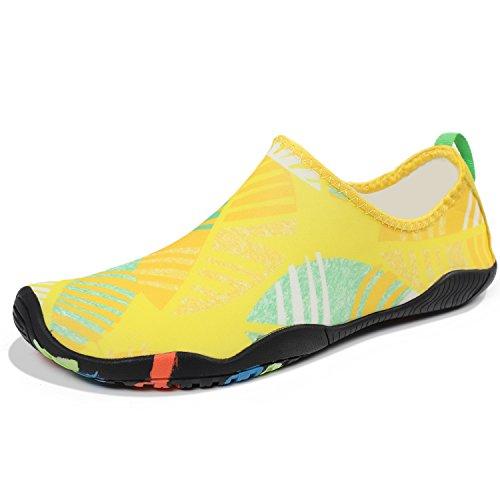 Women Swim Shoes thick Barefoot Dry Z Aqua Sports Shoes Heeta Men Quick Yellow Beach Swim Socks Leaf Water for xPv64a4wIq
