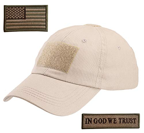 Lightbird Tactical Hat with 2 Pieces Military Patches, Adjustable Operator OCP US Flag Hats Cap (Tan) ()