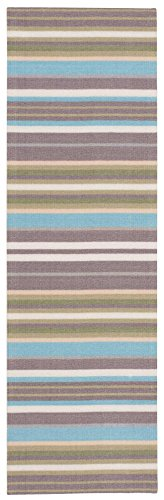Waverly SND12  Sun & Shade Paddock Shawl Stripel Platinum Indoor/Outdoor Area Rug by Nourison  1'10