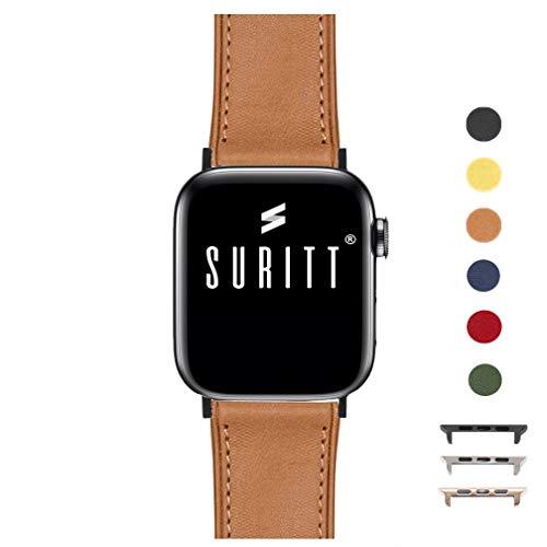 Suritt ® Correa para Apple Watch de Piel Rio (6 Colores Disponibles). 3 Colores de Hebilla y Adaptador para Elegir…