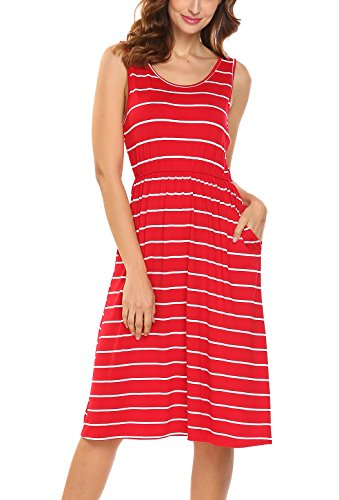 Hount Women's Summer Sleeveless Striped Empire Waist Loose Midi Casual Dress With Pockets (Red, Medium)
