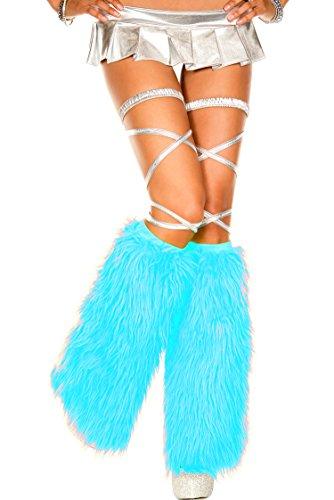 MUSIC LEGS Women's Faux Fur Leg Warmers, Turquoise, One Size -