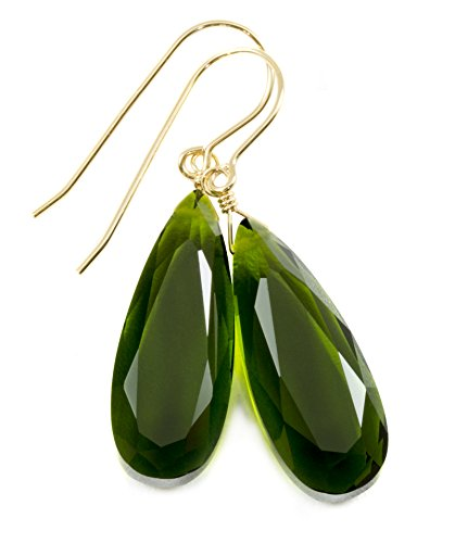14k Yellow Gold Filled Green Olive Simulated Quartz Earrings Faceted Teardrops Simple Dangle Drops 1.7