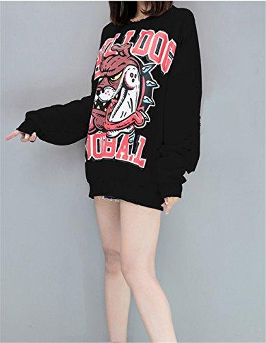 Pullover e Inverno Maglione Cartoon Donna Oversize Sweatshirt Nero Felpa Lunghe Casual Abito Haroty Mickey Stampa Tunica Autunno wUITZU