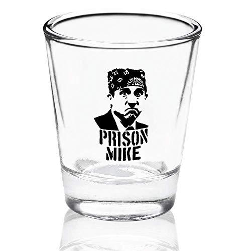 Prison Mike Shot Glass – The Office Merchandise | Funny Michael Scott Novelty Gift for Men and Women – Dunder Mifflin Inspired Shot Glasses