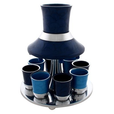 Enamel on Aluminum Kiddush Fountain & Wine Divider Set with 8 Cups for Shabbat and Holidays - Shades of Blue ()