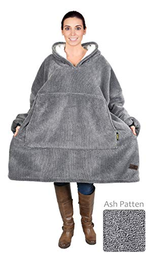 (Catalonia Oversized Sherpa Hoodie Sweatshirt Blanket,Super Soft Warm Comfortable Giant Hoody with Large Front Pocket,for Adults Men Women Teens (Ash Grey))