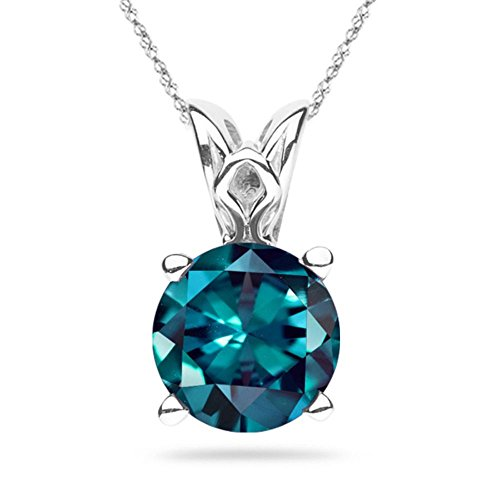 (2.28-3.01 Cts of 8 mm AAA Round Lab created Russian Alexandrite Scroll Solitaire Pendant in 14K White Gold)