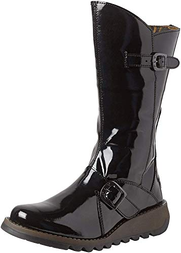 #Fly London Mes 2 Black Patent Leather Womens Mid Calf Boots