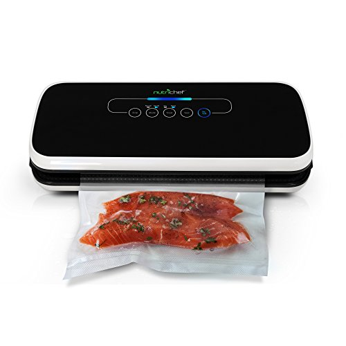 NutriChef Vacuum Sealer | Automatic Vacuum Air Sealing System For Food Preservation w/ Starter Kit | Compact Design | Lab Tested | Dry & Moist Food Modes | Led Indicator Lights (Vacuum Package Machine)