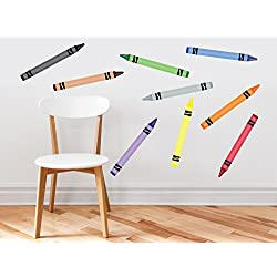 Crayon Fabric Wall Decals - Set Of 9 Coloring Crayons In 9 Different Colors - Removable, Reusable, Respositionable