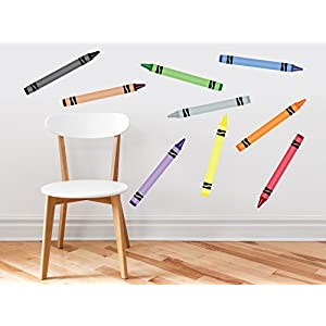 Crayon Fabric Wall Decals – Set of 9 Coloring Crayons in 9 Different Colors – Removable, Reusable, Respositionable