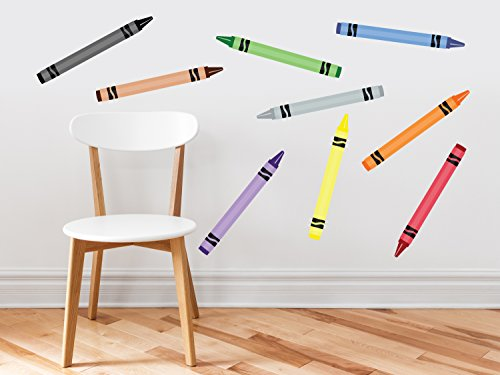 Crayon Fabric Wall Decals - Set of 9 Coloring Crayons in 9 Different Colors - Removable, Reusable, Respositionable (Crayons Rug)