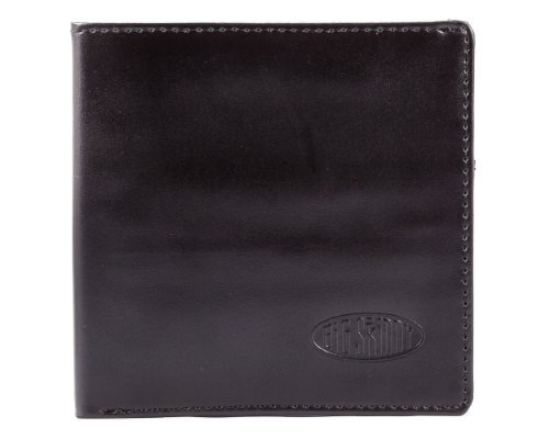 Big Skinny Men's World Leather Bi-Fold Slim Wallet, Holds Up to 35 Cards, Black