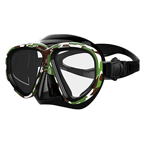 iecool Men's Professional Adult Silicone 2-windows Scuba Diving Snorkeling Mask Pattern Color1