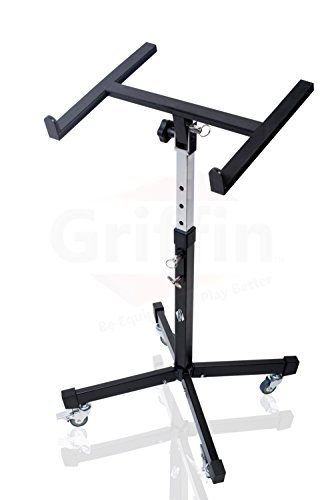Mobile Studio Mixer Stand DJ Cart by Griffin | Rolling Standing Rack On Casters with Adjustable Height|Portable Turntable | Protect Your Digital Audio Gear and Music Equipment|Heavy Duty Construction by Griffin (Image #5)
