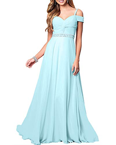 Aofur New Lace Long Chiffon Formal Evening Bridesmaid Dresses Maxi Party Ball Prom Gown Dress Plus Size (XX-Large, Light Blue)