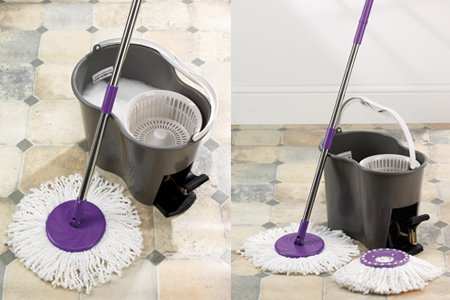 360° Rotating Spin Cyclone Spinning Mop with Bucket with Foot Pedal Micro Fibre Mop Head.
