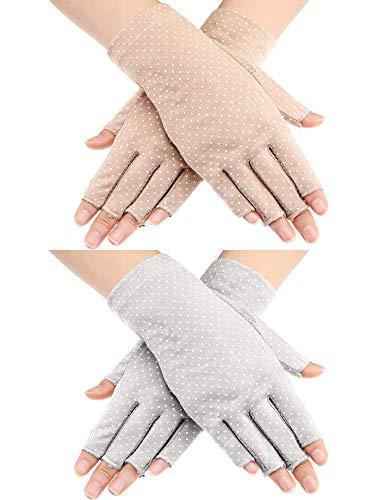 Maxdot Sunblock Fingerless Gloves Non-slip UV Protection Driving Gloves Summer Outdoor Gloves for Women and Girls (Gray and Khaki, 2 Pairs)