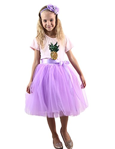 Zcaynger Girls Skirt Tutu Dancing Dress 4-Layer Fluffy With Ribbon, Purple, One -