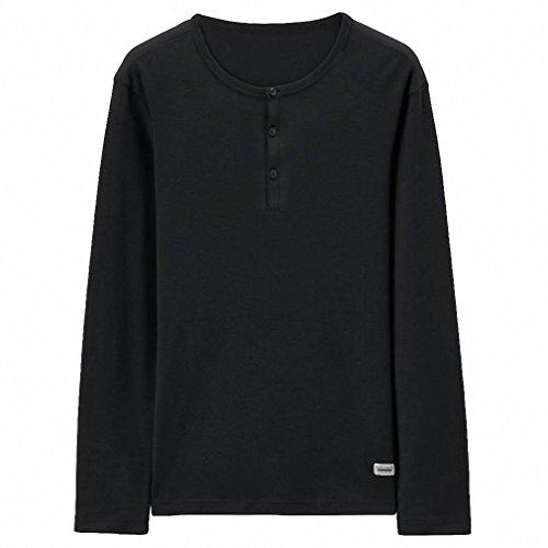 Men T-shirt Solid Henley Neck Cotton Tee Long Sleeves Autumn Style Casual Plain Tshirts Hombre I Vestiti 09Black - Outlets Vernon Mount