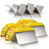 """Meldarin Stainless Steel Taco Holder Stand with Handle 4"""" x 8"""" -4 Pack"""