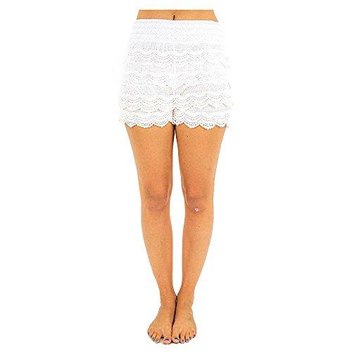 TD Women's Cotton Crochet Tiered Scalloped Lace Mini Shorts Skorts Pants (M/L, White)