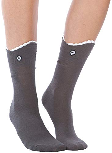Foot Traffic - 3D Shark Bite Socks, Cozy Leg-Chomping Fun, Charcoal (Women's Shoe Sizes 4-10)
